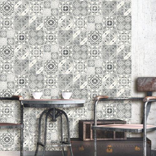 Debona Washable Wallpaper Valencia Tile Black /& Silver 5010