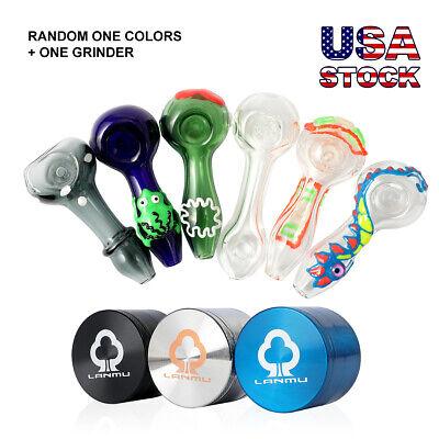 Random Color 3Pcs Silicone Tobacco Smoking Handheld Pipe with Grinder