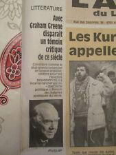 JOURNAL DU DECES DE : GRAHAM GREENE - 04/04/1991 -