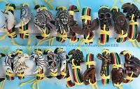 Us Seller - 20 Pcs Rasta Reggae Bracelets Wholesale Jewelry Lot With Imitation