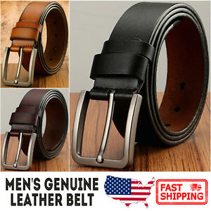 Men-039-s-Classic-Metal-Buckle-Handcrafted-Genuine-Leather-Jean-Belt