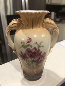 Antique Victorian Flower Handled Porcelain Flower Vase Austria