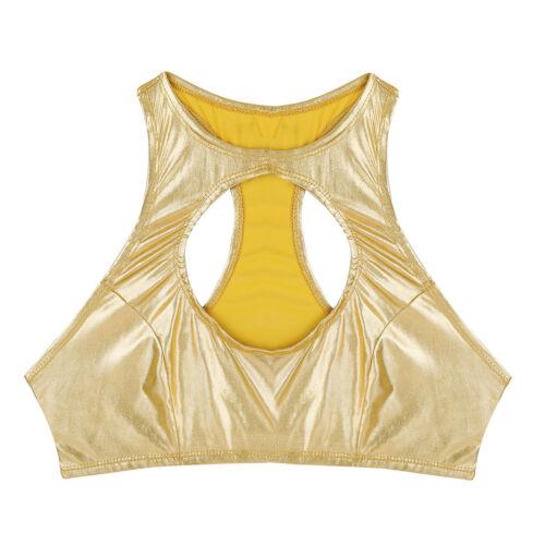 Womens Metallic Cut Out Boob Tube Bandeau Stretchy Vest Bra Crop Top Tank Blouse
