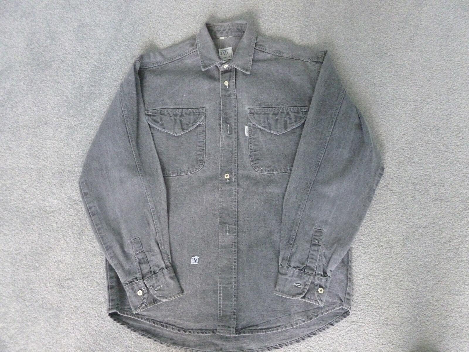 Valentino Gris Jeans Heavy Denim Gris Valentino à Manches Longues Chemise Décontractée 743265