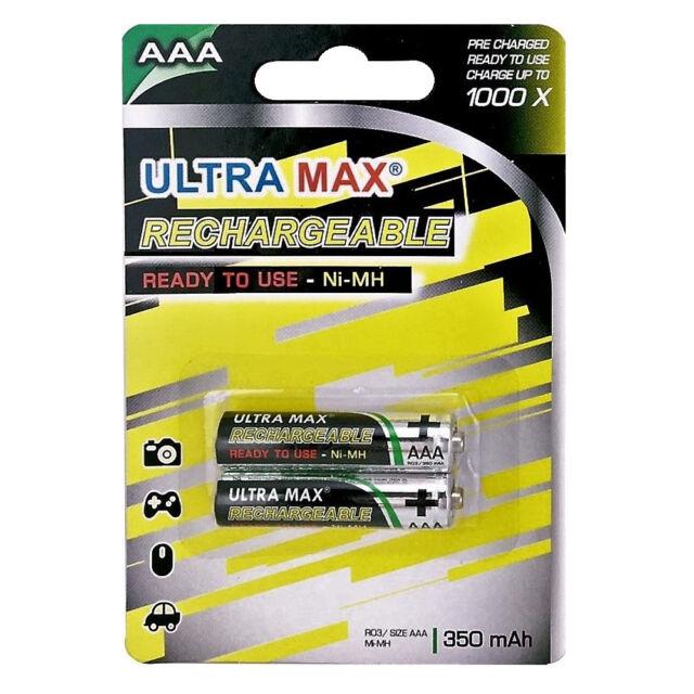 2X Ultramax AAA 350mAh Recargable Ni-Mh Baterías Dect Teléfono - Luz Solar