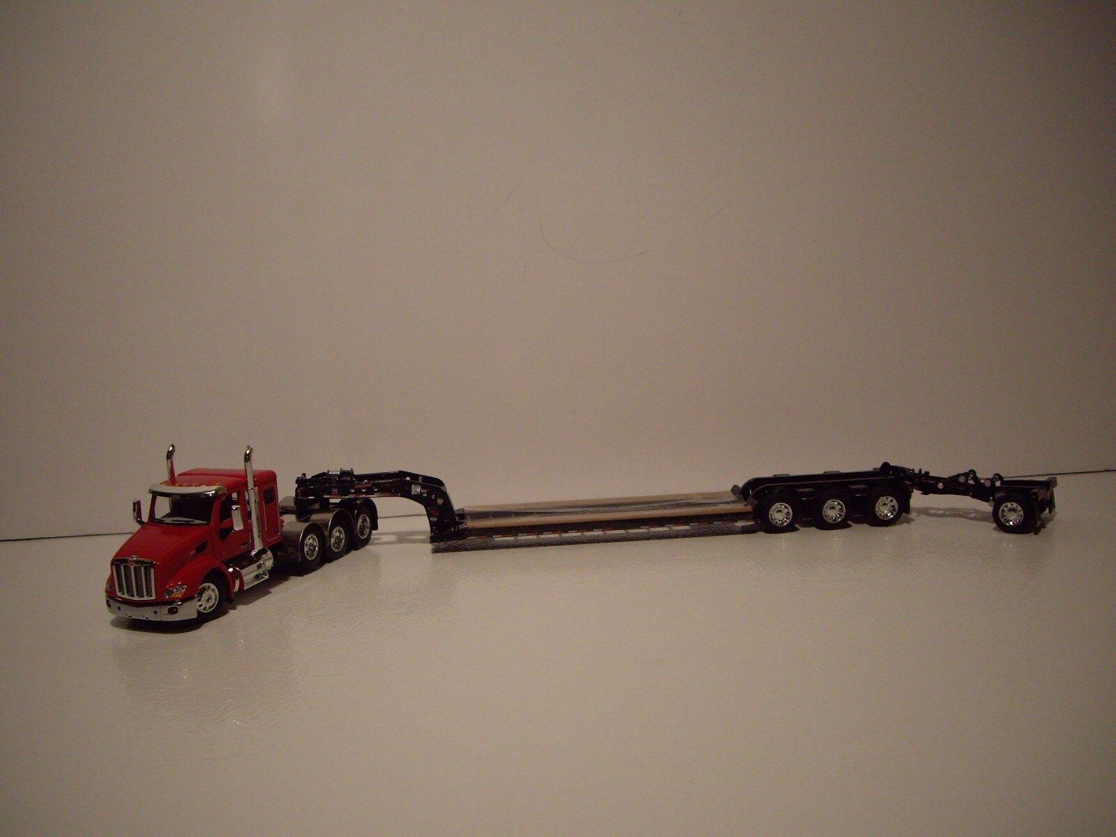 DCP First Gear 1 64 rosso 4 Eje Pete 579 con T 44  durmiente y nero Lowboy Y Stinger