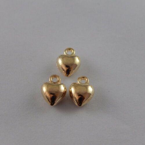 100PCS KC Gold Tone Alliage Mignon Coeur Charms Pendentif Jewerly 7*7*4mm