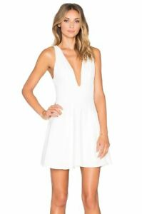 49d5e4f0b98a $170 NBD White Vneck Strappy Ride or Die Fit & Flare Dress XS 0 2 ...