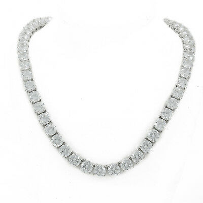 "1 Row Black Solitaire Lab Diamond Tennis Necklace 22/"" Chain 4mm Black Finish New"