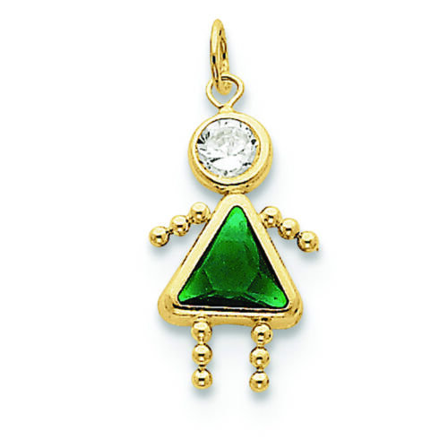 10K Yellow Gold May Girl Synthetic Birthstone Charm Pendant MSRP $75
