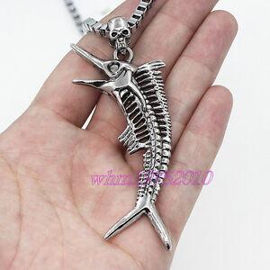 Stainless steel skull fish bone pendant chain men 39 s for Fish skeleton necklace