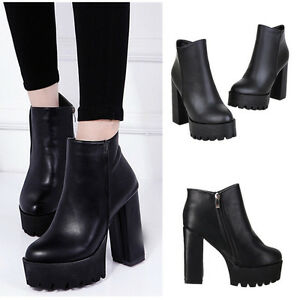 f43887dd079 Women Winter Platform Ankle Boots High Heel Chunky Leather Shoes ...