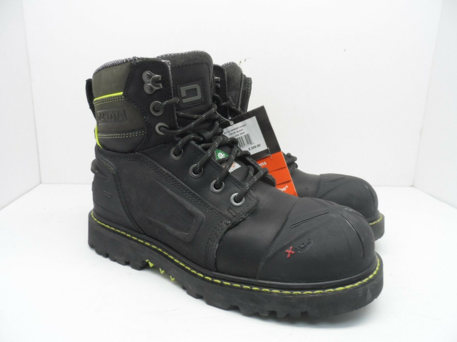 Dakota Men's 6'' X-Toe Quad Comfort Steel Toe Composite Plate Boots Black 8.5M