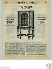 1932 PAPER AD 6 PG US Apex Console Floor Radio The President 10 Tube Short Wave