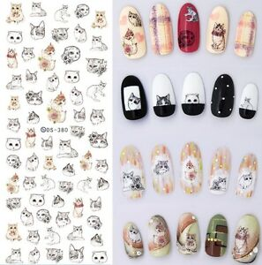Animal-Water-Decals-Cute-Cat-Dog-Bunny-Rabbit-Nail-Transfer-Stickers