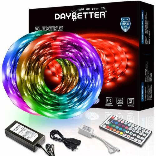 DAYBETTER Led Strip Lights 32.8ft with 44 Keys Remote and 12V Color Changing