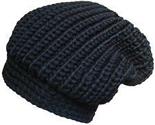 Da UOMO o DONNA TRAMA GROSSA Rib Knit Slouch Beanie Oversize Nero Cappello Invernale-htb-011
