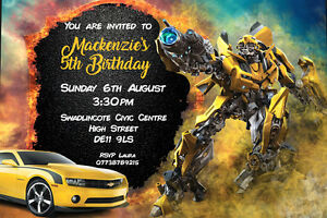 Personalised transformers bumblebee birthday party invites inc image is loading personalised transformers bumblebee birthday party invites inc envelopes filmwisefo