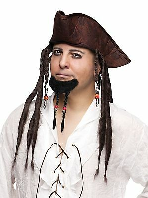 Pirate Braided Goatee Beard Beaded Beads Mens Adult Facial Hair Self Adhesive
