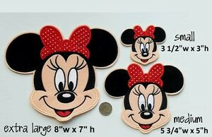 Medium minnie mouse iron on patch disney applique ready to