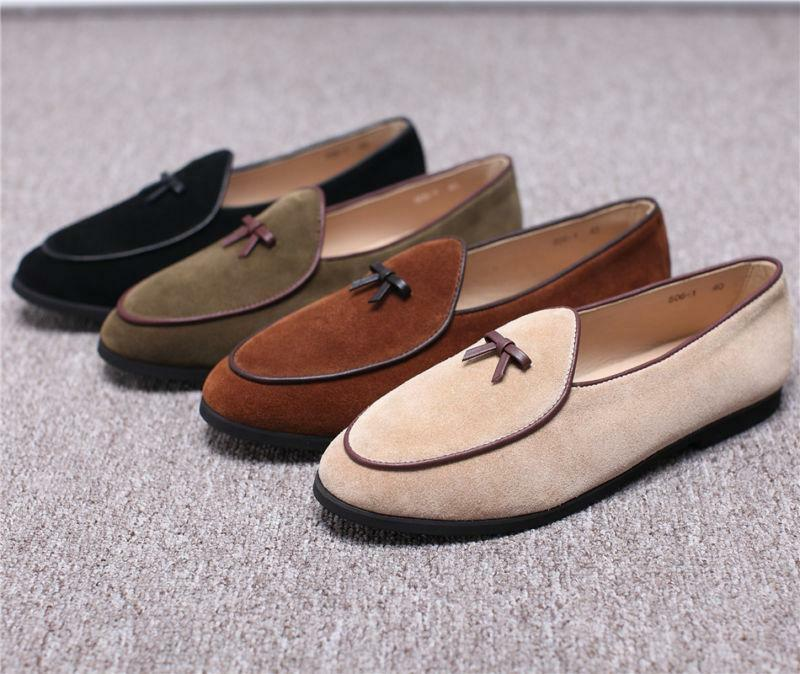 Mens Suede Slippers Flats With Bowtie Loafers Slip on Belgian Dress Shoes Sz