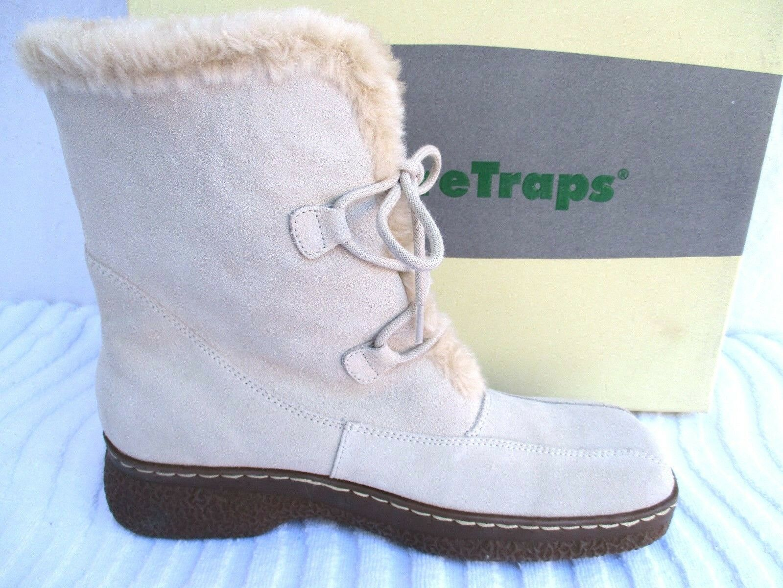 BARE TRAPS..BEIGE..<wbr/>FUR LINED..SUEDE LEATHER..ANKLE<wbr/>..BOOTS..NEW w BOX..sz 8.5