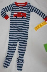 e0130df3d0b0 NEW~CARTERS TODDLER BOY STRIPED FIRETRUCK COTTON SLEEPER PAJAMAS ...