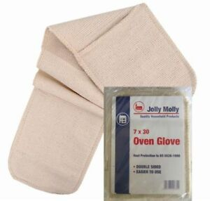 Jolly-Molly-Traditional-Plain-White-Double-Oven-Glove-Mitt-30-034-76cm-or-36-034-91cm