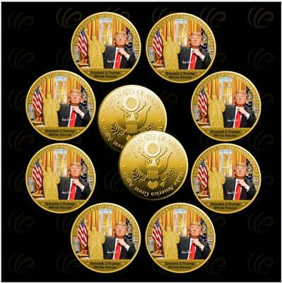 ✯ DONALD TRUMP ✯ US GOLD EAGLE ✯ GREAT NOVELTY GIFT ✯ WITH WOODEN SOUVENIR✯