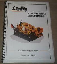 Lee Boy 1000 D Tilt Hopper Paver Operation Parts Service Shop Repair Manual