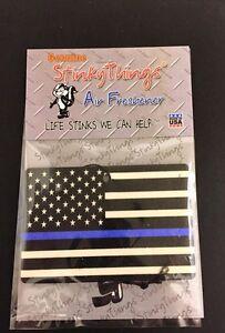 THIN BLUE LINE AMERICAN FLAG AIR FRESHENER * APPLE * car truck police sticker