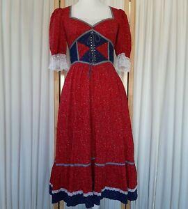 vtg gunne sax prairie dress lace corset red calico blue