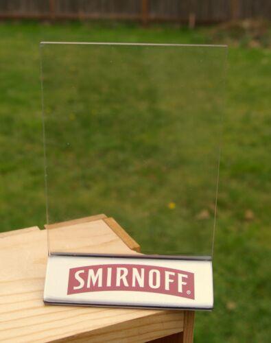 "Smirnoff Vodka Logo 2003 5 1//4/"" Table Top Sign Menu Holder Frame Plexiglass"