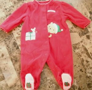 96371d44151a baby girls MY FIRST CHRISTMAS SLEEPER fleece warm RED cat HOLIDAY ...