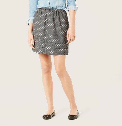 Ann Taylor LOFT Polka Dot Cotton Flannel Skirt Size XS, S, L, XL Timberwolf Grey