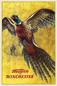 1950s Western Winchester Pheasant Vintage Style Hunting Poster - 24x36