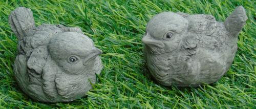2 Piccoli Uccellini Abbeveratoio Decor Pietra Decorazione Giardino CAST a mano 6x5x4 cm 124 GR