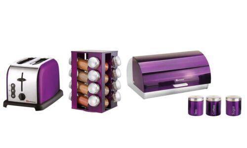 6 PZ Set di Tostapane portaspezie con 16 barattoli cestino di pane /& 3 Barattoli-Viola