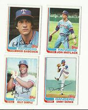 VINTAGE 1982 TOPPS BASEBALL CARDS – TEXAS RANGERS - MLB