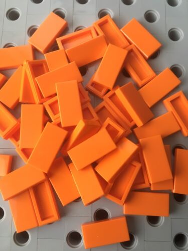 Lego Orange 1x2 Flat Tiles Smooth Finishing Tile Buildings  Floor Lot Of 50