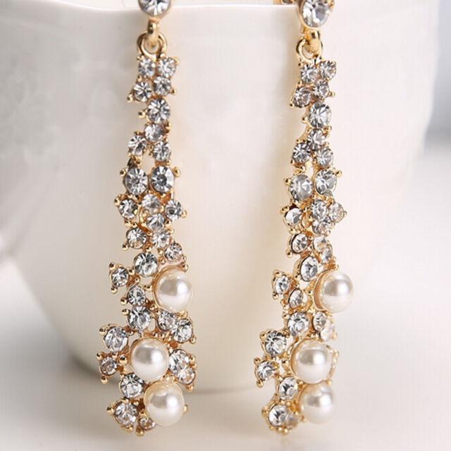 Fashion Women's Pearl Crystal Rhinestone Alloy Dangle Earrings Ear Stud Jewelry