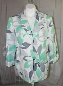 Womens-New-Alfred-Dunner-Floral-Blazer-jacket-Size-16