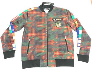 Hudson-Outerwear-Zipup-Plaid-CamoAbstractsTrack-Jacket-Men-039-s-Size-Free-Shipping
