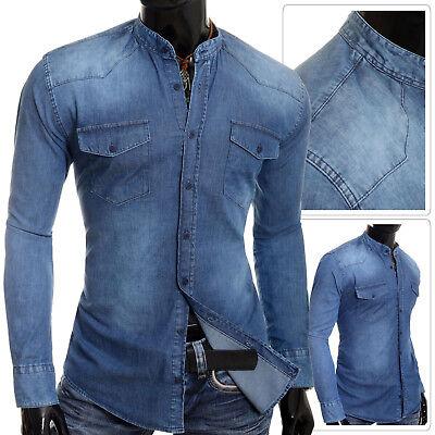 Men/'s Denim Blue Jean Shirt Grandad Band Collar UK Comfort Fit Front Pockets