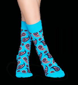 Paisley Combed Cotton Crew Turquoise NWT Women's Sock Size 9-11 Happy Socks