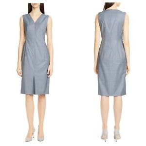 495-NWT-Hugo-Boss-Dalanis-Windowpane-Plaid-Wool-amp-Silk-Sheath-Dress-Blue-12