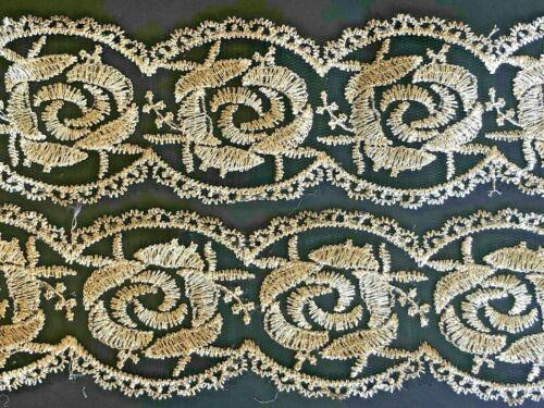 """Laverslace Negro y Oro Floral Rosa tul bordado de encaje de corte 2.5/""""//6.5cm"""