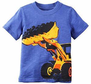 Carter-039-s-Boys-039-Short-Sleeve-034-Bulldozer-034-Tee-Shirt-12-Months