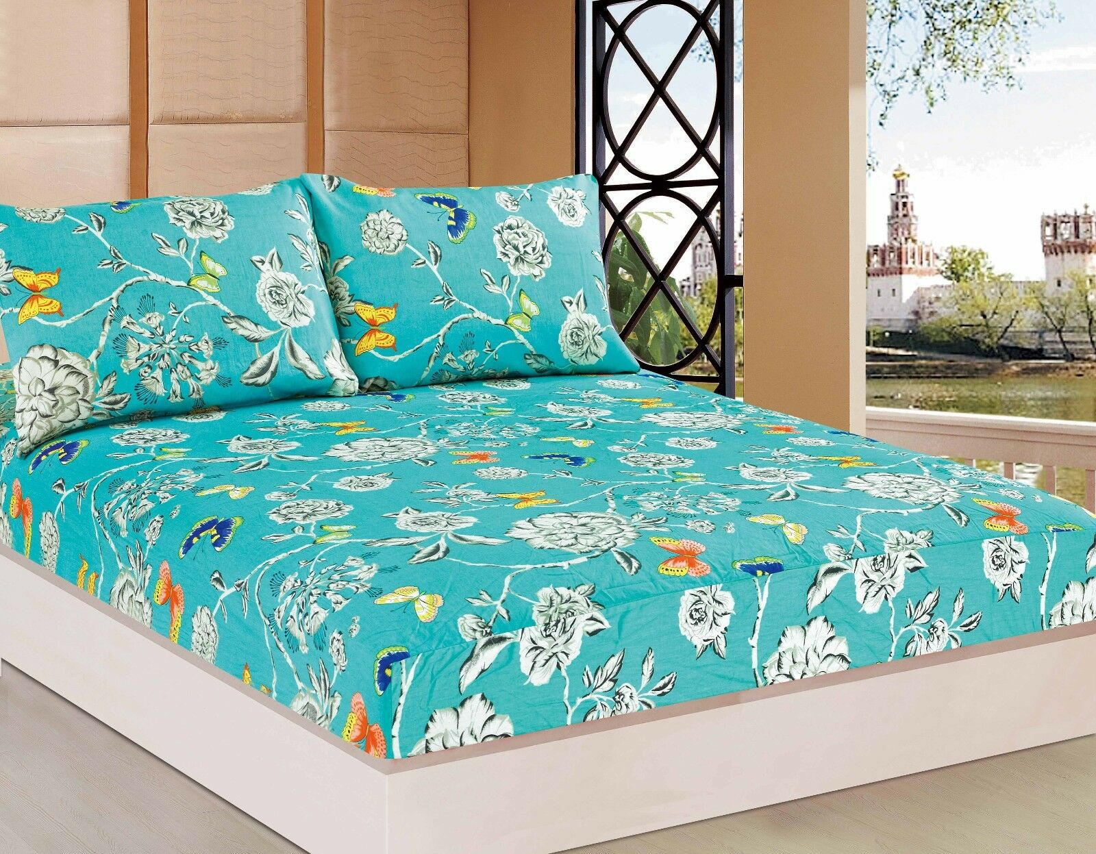 Tache 2-3 PC Butterfly Wonderland Aqua Blau Floral Farbeful Fitted Sheet Only