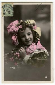 c-1906-Children-Chld-Kid-Cute-LITTLE-GIRL-tinted-photo-postcard